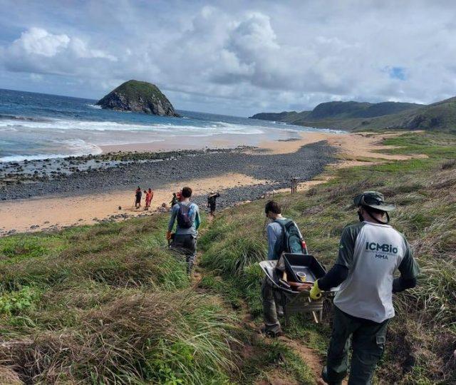 ICMBio retirou quase uma tonelada de piche e lixo das praias de Noronha neste fim de semana